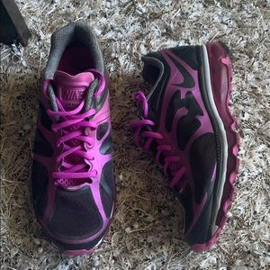 Nike black and purple AirMax sneakers